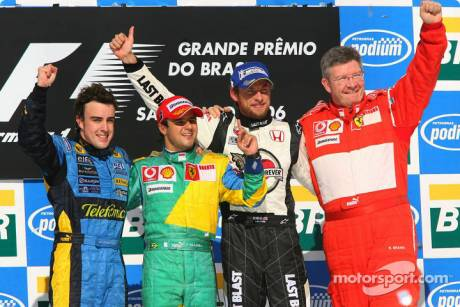 race winner Felipe Massa with 2006 World Champion Fernando Alonso, Jenson Button and Ross Brawn