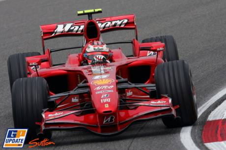 Kimi Raikkonen in the Ferrari
