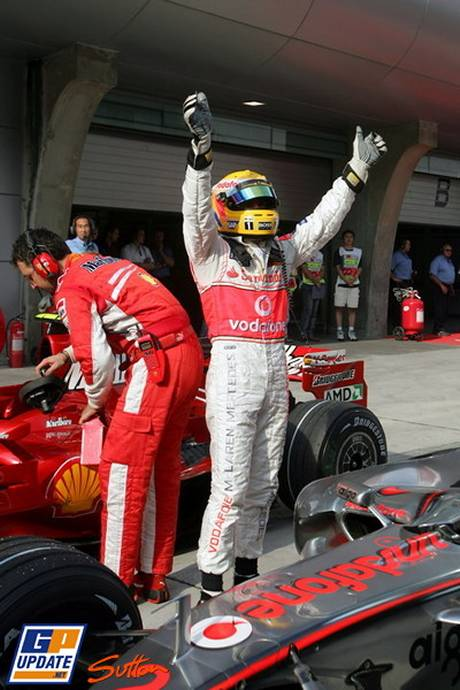 Lewis Hamilton Celebrates his pole for McLaren