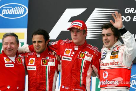 race winner and 2007 World Champion Kimi Raikkonen, second place Felipe Massa, third place Fernando Alonso, and Jean Todt