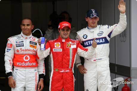 Lewis Hamilton (McLaren Mercedes), Felipe Massa (Scuderia Ferrari), Robert Kubica (BMW Sauber F1 Team)
