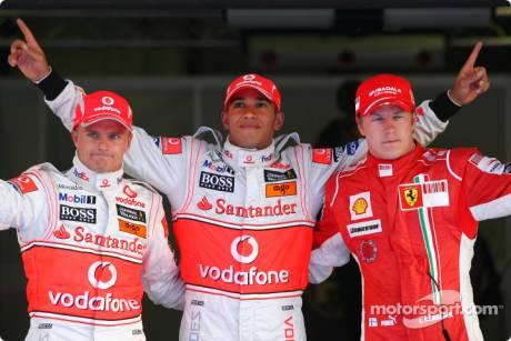 Pole winner Lewis Hamilton (McLaren Mercedes), second place Kimi Raikkonen (Scuderia Ferrari), third place Heikki Kovalainen (McLaren Mercedes)