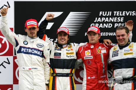race winner Fernando Alonso, second place Robert Kubica, third place Kimi Raikkonen
