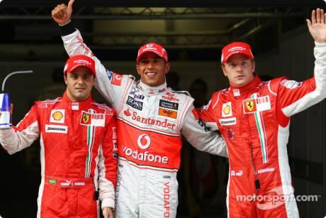 Pole winner Lewis Hamilton (McLaren Mercedes), second place Kimi Raikkonen (Scuderia Ferrari), third place Felipe Massa (Scuderia Ferrari)