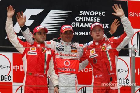race winner Lewis Hamilton (McLaren Mercedes), second place Felipe Massa (Scuderia Ferrari), third place Kimi Raikkonen (Scuderia Ferrari)