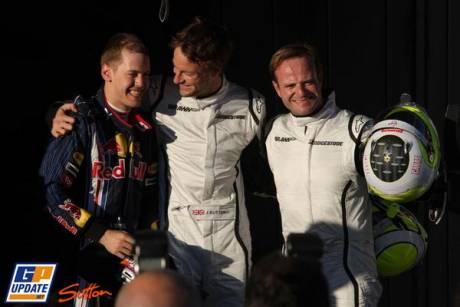 Sebastian Vettel (Red Bull Racing) takes 3rd, Jenson Button (Brawn GP) take pole position and Rubens Barrichello (Brawn GP) takes second