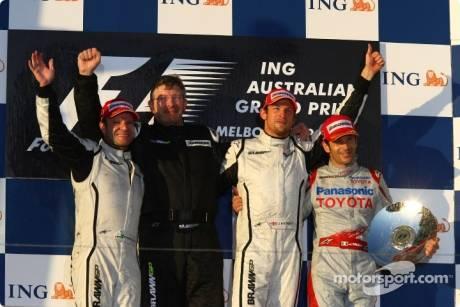 Podium: race winner Jenson Button (Brawn GP F1 Team), second place Rubens Barrichello (Brawn GP F1 Team), third place Jarno Trulli (Toyota F1 Team), and Ross Brawn (Brawn GP F1 Team) Team Principal