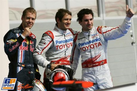 Third Place for Sebastian Vettel (Red Bull Racing), Pole Position for Jarno Trulli (Toyota F1 Team), Second Place for Timo Glock (Toyota F1 Team)