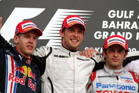 Podium: race winner Jenson Button (Brawn GP F1 Team), second place Sebastian Vettel (Red Bull Racing), third place Jarno Trulli (Toyota F1 Team)