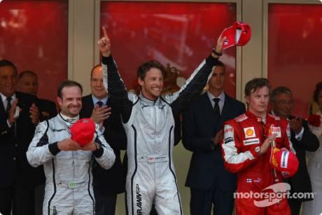 1st place Jenson Button (Brawn GP F1 Team) with 2nd place Rubens Barrichello (Brawn GP F1 Team) and 3rd place Kimi Raikkonen (Scuderia Ferrari)