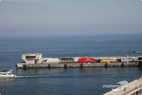 F1 Trucks parked on the harbour wall