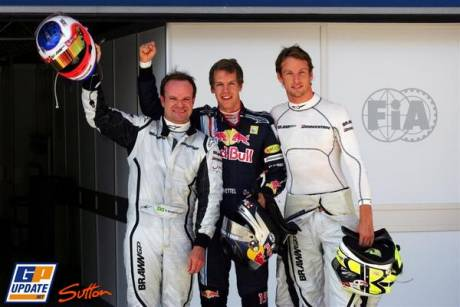 Rubens Barrichello (Brawn GP F1 Team) 3rd, Sebastian Vettel (Red Bull Racing) Pole Position, Jenson Button (Brawn GP F1 Team) 2nd