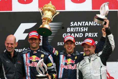 Podium: race winner Sebastian Vettel (Red Bull Racing), second place Mark Webber (Red Bull Racing), third place Rubens Barrichello (Brawn GP F1 Team), Adrian Newey (Red Bull Racing), Technical Operations Director