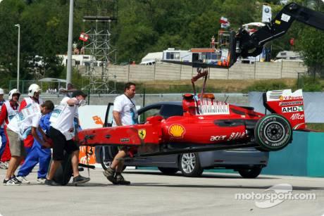 The wrecked Ferrari F60 of Felipe Massa after his crash
