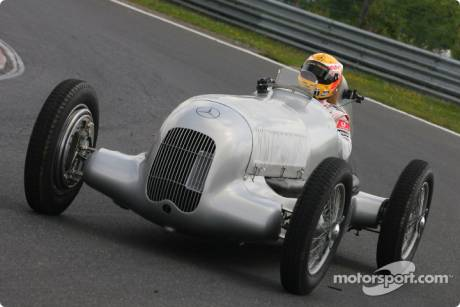 Lewis Hamilton (McLaren Mercedes) celebrates 75 years of Silver Arrows