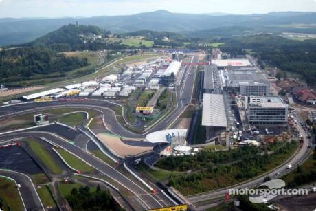 Aerial view of the Nurburgring and the new development and facilities around it