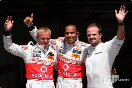 Pole winner Lewis Hamilton (McLaren Mercedes), second place Heikki Kovalainen (McLaren Mercedes) and third place Rubens Barrichello (Brawn GP F1 Team)