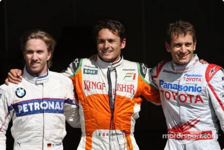 Nick Heidfeld (BMW Sauber F1 Team), Giancarlo Fisichella (Force India F1 Team) and Jarno Trulli (Toyota F1 Team)