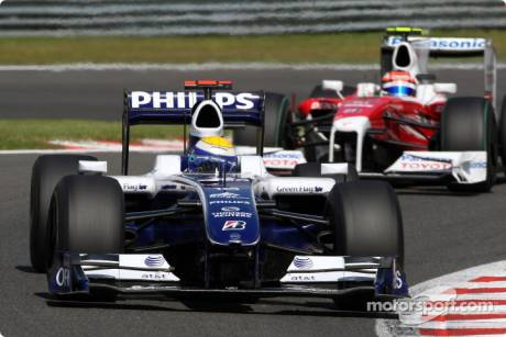 Nico Rosberg (Williams F1 Team, FW31) and Timo Glock (Toyota F1 Team, TF109)