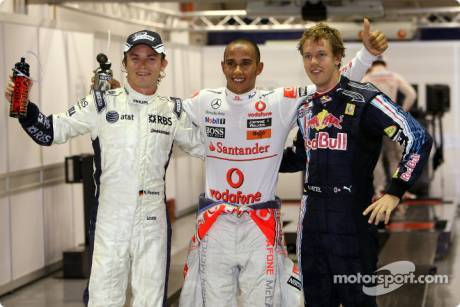 Nico Rosberg (Williams F1 Team), Lewis Hamilton (McLaren Mercedes) and Sebastian Vettel (Red Bull Racing)