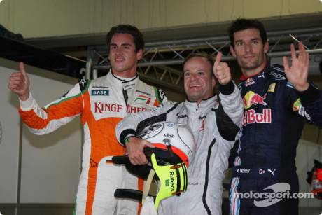 Pole winner Rubens Barrichello (Brawn GP), second place Mark Webber (Red Bull Racing) and third place Adrian Sutil (Force India F1 Team)