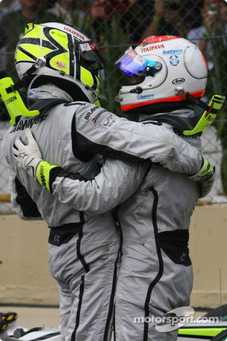 Jenson Button, Brawn GP F1 Team and Rubens Barrichello, Brawn GP F1 Team