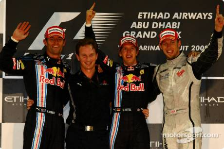 Podium: Second Place Mark Webber (Red Bull Racing), Christian Horner (Red Bull Racing), Race Winner Sebastian Vettel (Red Bull Racing) and Third Place Jenson Button (Brawn GP F1 Team)