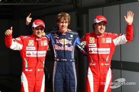Pole winner Sebastian Vettel (Red Bull Racing) with second place Felipe Massa (Scuderia Ferrari) and third place Fernando Alonso (Scuderia Ferrari)