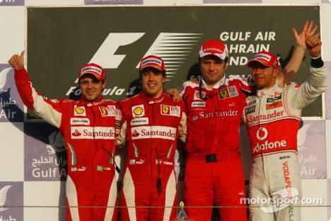 Podium: race winner Fernando Alonso (Scuderia Ferrari) with second place Felipe Massa (Scuderia Ferrari) and third place Lewis Hamilton (McLaren Mercedes) and Stefano Domenicali (Sporting Director at Scuderia Ferrari)