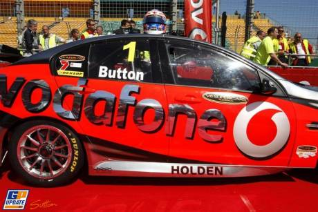 Jenson Button in the V8 Supercar of Jamie Whincup