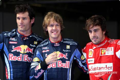 Pole winner Sebastian Vettel (Red Bull Racing) with second place Mark Webber (Red Bull Racing) and third place Fernando Alonso (Scuderia Ferrari)