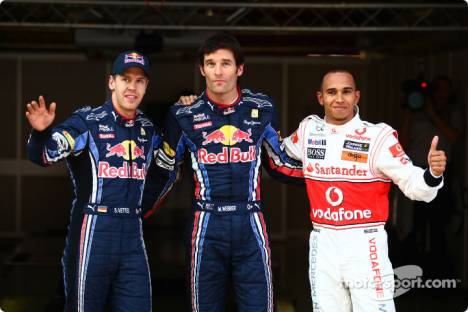 Sebastian Vettel (Red Bull Racing), Mark Webber (Red Bull Racing) and Lewis Hamilton (McLaren Mercedes)