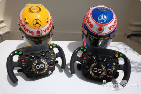 Lewis Hamilton (McLaren Mercedes) and Jenson Button (McLaren Mercedes), Monaco edition helmets and steering wheels with Steinmetz Diamonds