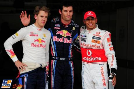 Mark Webber (Red Bull Racing) takes Pole Position, Lewis Hamilton (McLaren Mercedes) takes 2nd Position and Sebastian Vettel (Red Bull Racing) takes 3rd Position