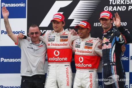Podium: Race Winner Lewis Hamilton (McLaren Mercedes), Second Place Jenson Button (McLaren Mercedes) and Third Place Mark Webber (Red Bull Racing)