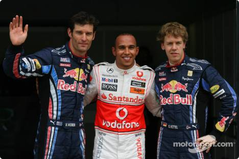 Lewis Hamilton (McLaren Mercedes) gets provisional Pole Position with Mark Webber (Red Bull Racing) 2nd and Sebastian Vettel (Red Bull Racing) 3rd