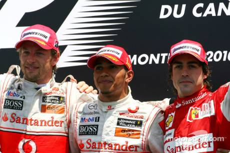 Podium: Race Winner Lewis Hamilton (McLaren Mercedes), Second Place Jenson Button (McLaren Mercedes) and Third Place Fernando Alonso (Scuderia Ferrari)
