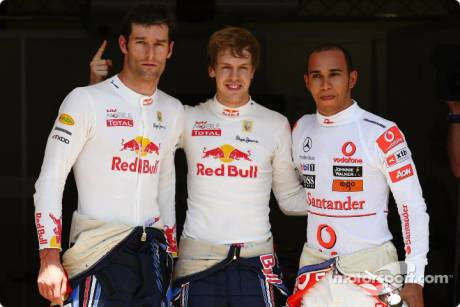 Pole Winner Sebastian Vettel (Red Bull Racing), Second Place Mark Webber (Red Bull Racing) and Third Place Lewis Hamilton (McLaren Mercedes)