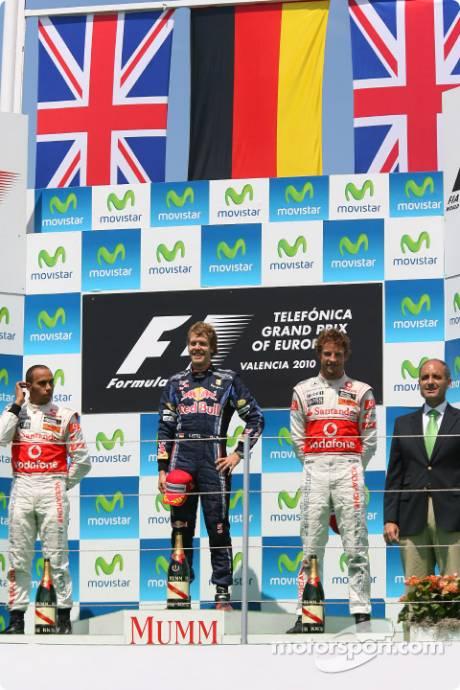 Podium : Race Winner Sebastian Vettel (Red Bull Racing), Second Place Lewis Hamilton (McLaren Mercedes) and Third Place Jenson Button (McLaren Mercedes)
