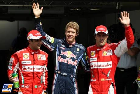 Pole Position for Sebastian Vettel (Red Bull Racing), Second Place for Fernando Alonso (Scuderia Ferrari) and Third Place for Felipe Massa (Scuderia Ferrari)
