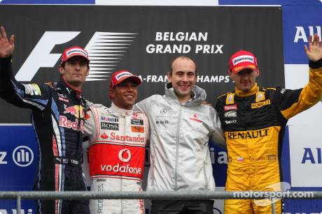 Podium: Race Winner Lewis Hamilton (McLaren Mercedes), Second Place Mark Webber (Red Bull Racing) and Third Place Robert Kubica (Renault F1 Team)