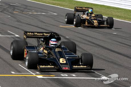 Takuma Sato drives the 1976 Lotus Ford of Gunnar Nilson and Bruno Senna drives the 1986 Lotus Renault Turbo of Ayrton Senna