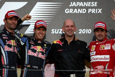 Podium: Race Winner Sebastian Vettel (Red Bull Racing), Second Place Mark Webber (Red Bull Racing), Third Place Fernando Alonso (Scuderia Ferrari) with Adrian Newey (Red Bull Racing, Technical Operations Director)