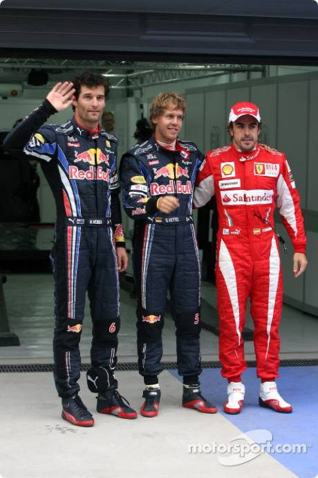 Pole Winner Sebastian Vettel (Red Bull Racing), Second Place Mark Webber (Red Bull Racing) and Third Place Fernando Alonso (Scuderia Ferrari)