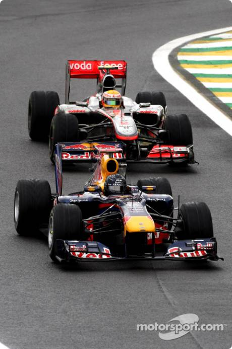 Sebastian Vettel, Red Bull Racing, RB6 and Lewis Hamilton, McLaren Mercedes, MP4-25
