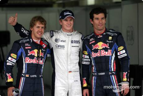 Pole Winner Nico Hulkenberg (Williams F1 Team), Second Place Sebastian Vettel (Red Bull Racing) and Third Place Mark Webber (Red Bull Racing)