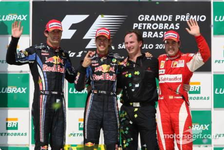 Podium : Race Winner Sebastian Vettel (Red Bull Racing), Second Place Mark Webber (Red Bull Racing), Third Place Fernando Alonso (Scuderia Ferrari) and Christian Horner (Red Bull Racing)
