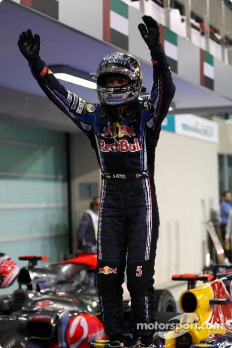 Race Winner and 2010 Formula One World Champion Sebastian Vettel (Red Bull Racing) celebrates