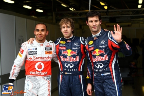 Pole Position : Sebastian Vettel (Red BUll Racing), Second : Lewis Hamilton (McLaren Mercedes), Third : Mark Webber (Red Bull Racing)
