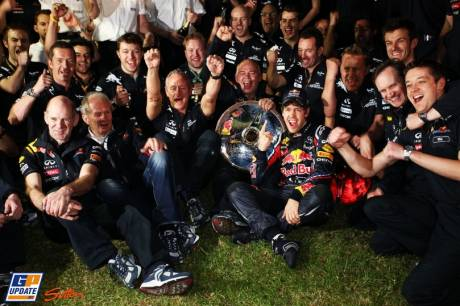Red Bull Racing celebrating their first victory of the 2011 season